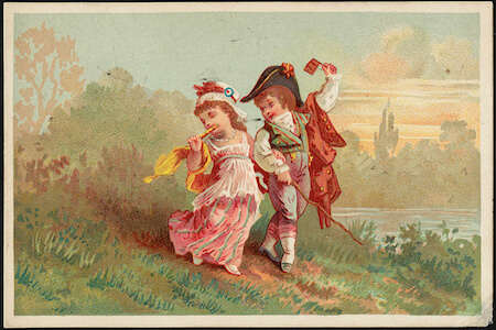 Boy and girl in historical costume from Boston Public Library